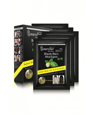 SWARZSTAR HAIR COLOR SHAMPOO BLACK- NONI EXTRACT 250 ML (PACK OF 10 SACHETS = 25ML X 10 SACHETS)