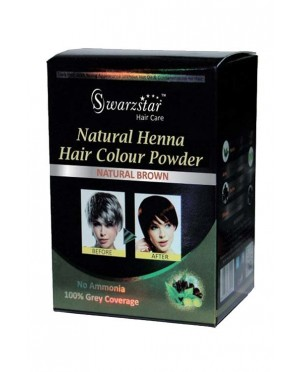 NATURAL HENNA HAIR COLOR POWDER (NATURAL BROWN) 200 GM (PACK OF 10 SACHETS = 20GM X 10 SACHETS)