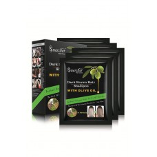 SWARZSTAR HAIR COLOR SHAMPOO DARK BROWN- OLIVE OIL 125 ML (PACK OF 5 SACHETS = 25ML X 5 SACHETS)