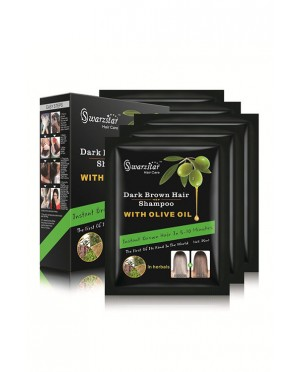 SWARZSTAR HAIR COLOR SHAMPOO DARK BROWN- OLIVE OIL 250 ML (PACK OF 10 SACHETS = 25ML X 10 SACHETS)